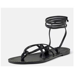 ZARA Flat Leather Sandals w/ Crisscross Straps
